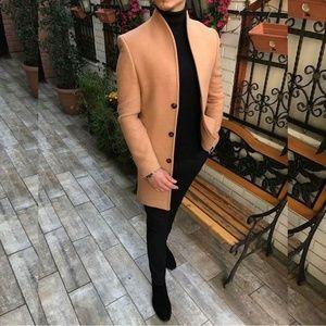 Men Casual Thicken Warm Slim Wool Blends Coat Sing
